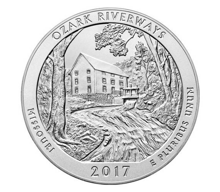 Ozark National Scenic Riverways 2017 Uncirculated Five Ounce Silver Coin