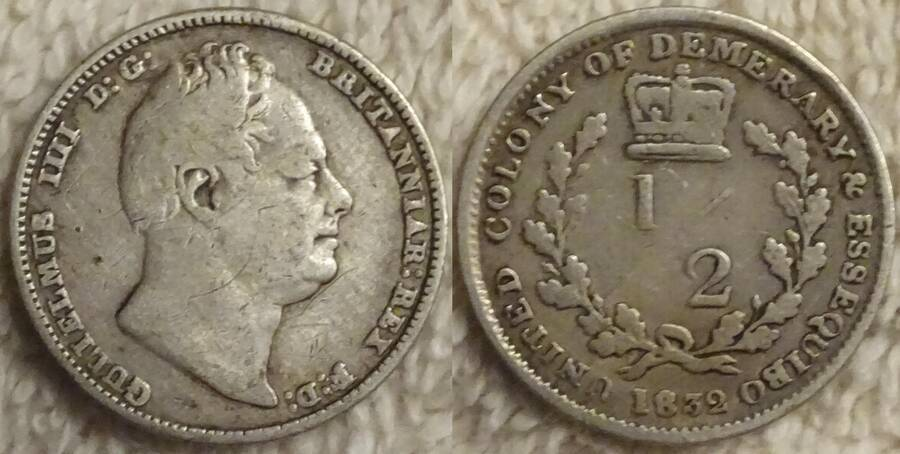 Demerary and Essequibo  (British Guiana) 1832 ½ Stiver