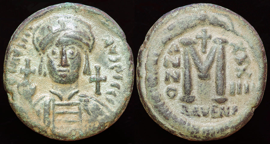 Anc_Byz_JustinianI_Follis_Ravenna