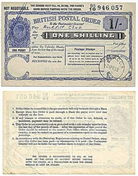Malacca 1953 1 Shilling Postal Order.