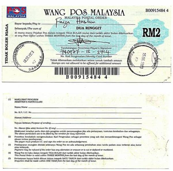 Pahang 1999 2 Ringgit Postal Order.