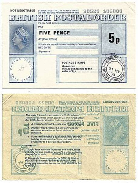 British Honduras 1973 5 Pence Postal Order.