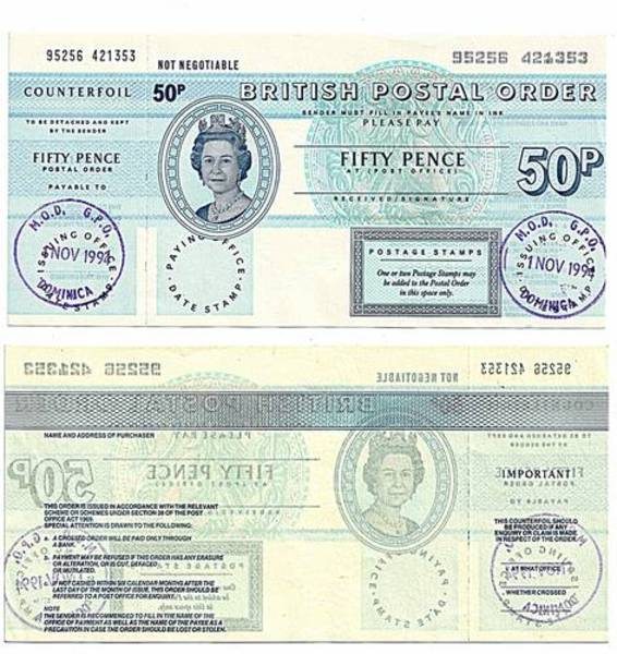 Dominica 1994 50 Pence Postal Order.