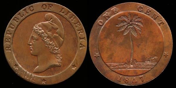Liberia, 1 Cent, 1847
