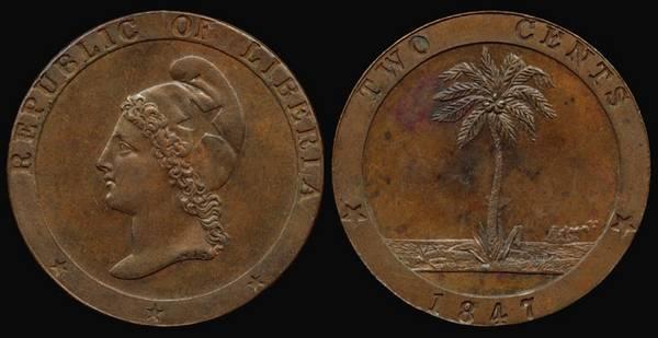 Liberia, 2 Cent, 1847
