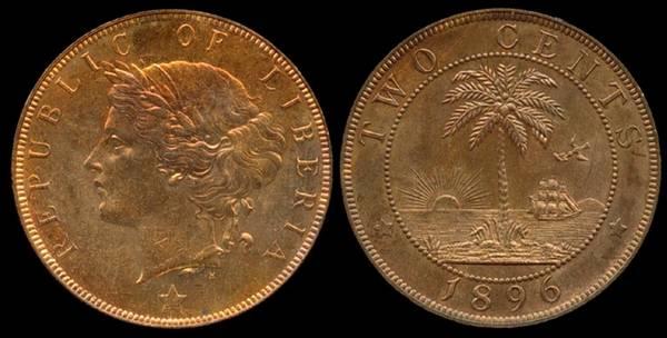 Liberia, 2 Cent, 1896
