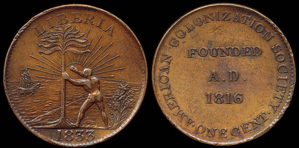 Liberia - AMERICAN COLONIZATION SOCIETY, ACS; Sun Disc Variety