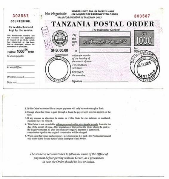 Zanzibar 2005 1,000 Shillings Postal Order.