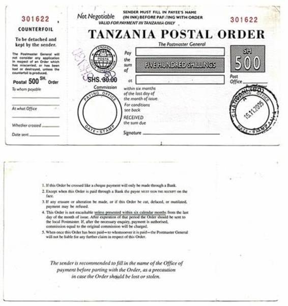 Zanzibar 2005 500 Shillings Postal Order.