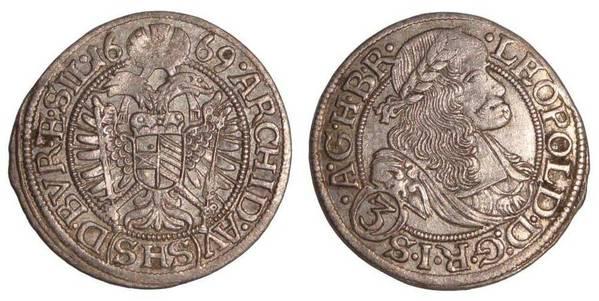 AUSTRIA~3 Kreuzer 1669