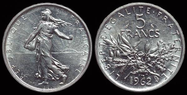 France 5 Fr. 1962 - Semeuse