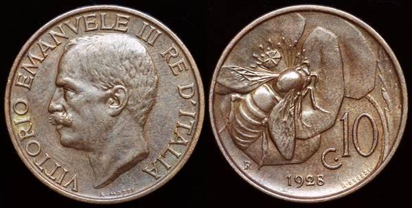 Italy 10 Centesimi 1928