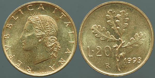 Italy 20 Lire 1993