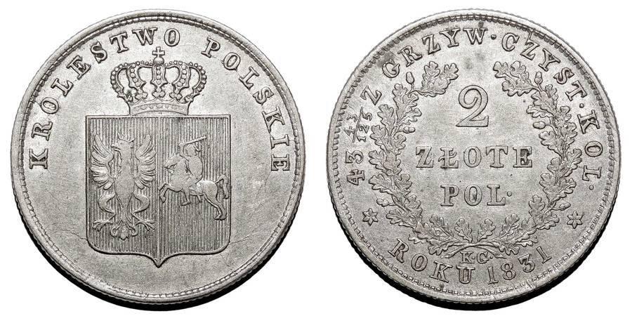 POLAND (REVOLUTION)~2 Zlote 1831