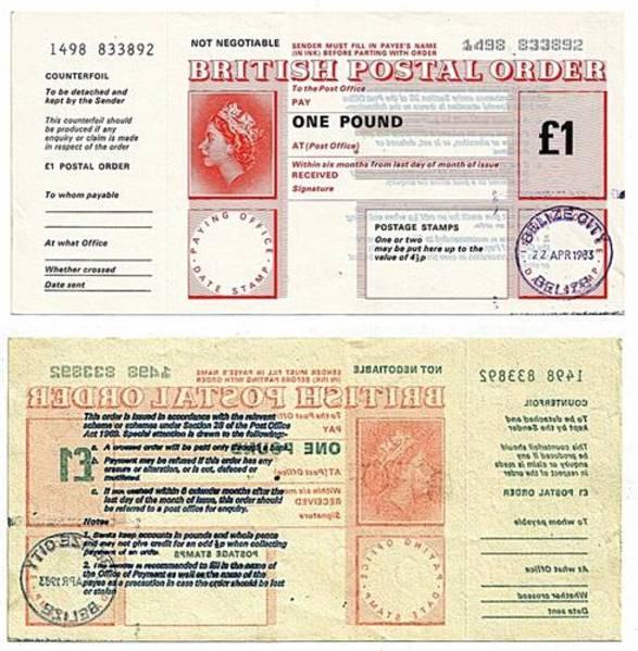Belize 1983 1 Pound Postal Order.