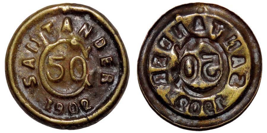 SANTADER~50 Centavos 1902