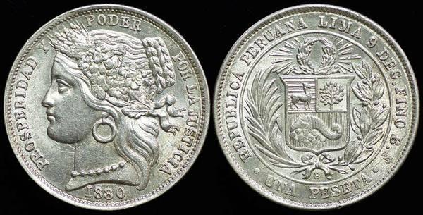 Peru Peseta 1880