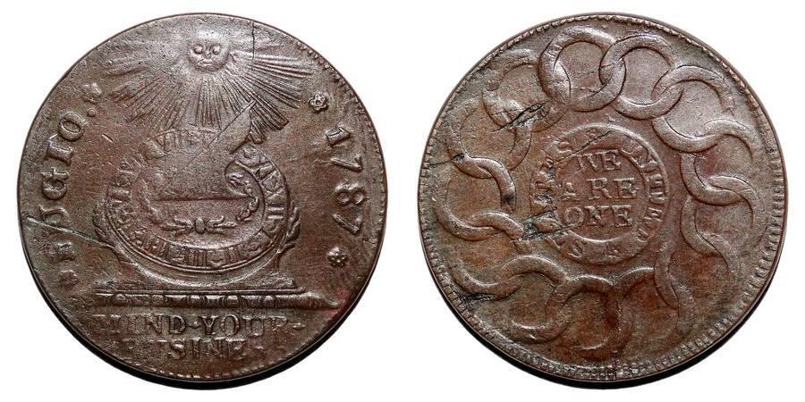 UNITED STATES OF AMERICA~Fugio Cent 1787