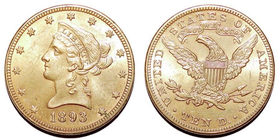UNITED STATES OF AMERICA~10 Dollar 1893