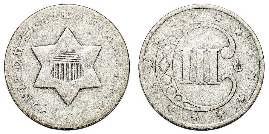 UNITED STATES OF AMERICA~3 Cents (Silver) 1851 O