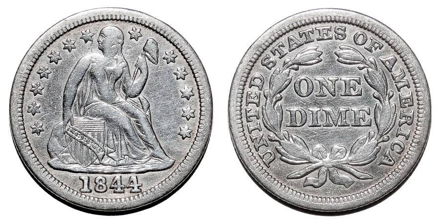 UNITED STATES OF AMERICA~Seated Liberty Dime 1844