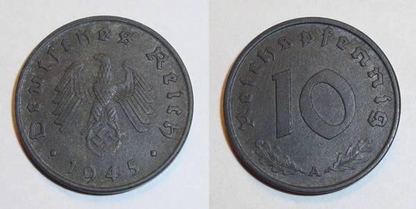 GERMANY (THIRD REICH)~10 Reichspfennig 1945 A