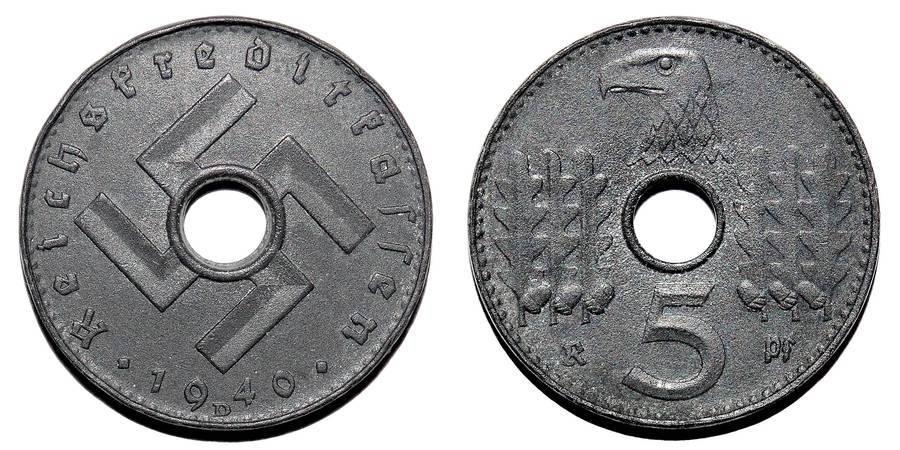 GERMANY (THIRD REICH)~5 Reichspfennig ~Military~ 1940 D