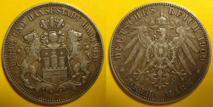 Hamburg 1909-J 3 Mark
