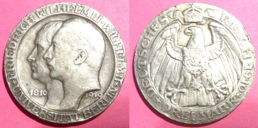 Prussia 1910 3 Mark Commemorative