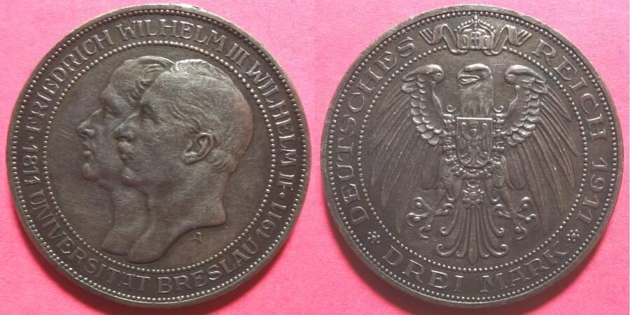Prussia 1911 3 Mark Commemorative