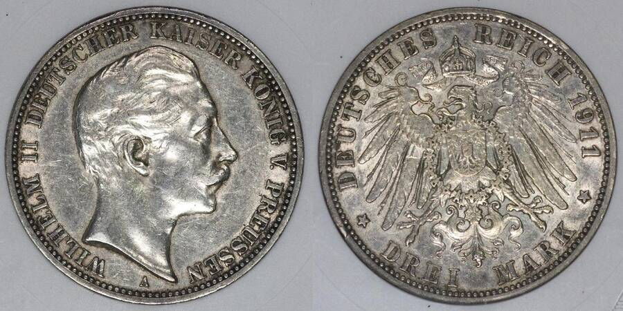 Prussia 1911 3 Mark