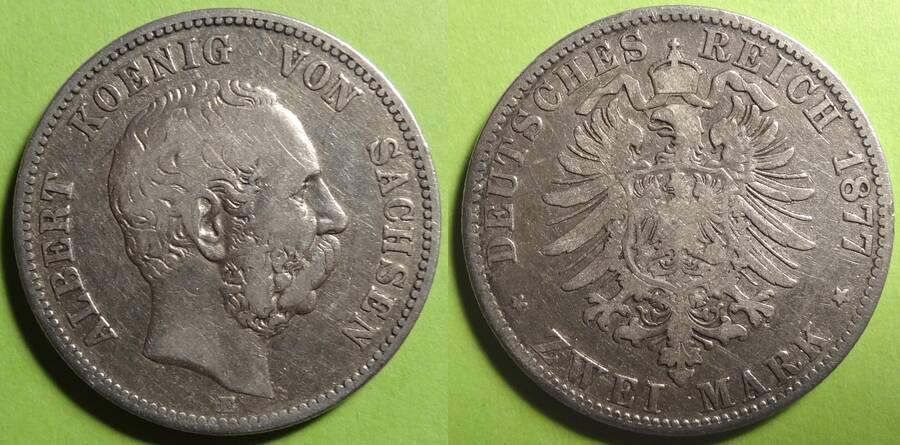 Saxony-Albertine 1877 3 Mark