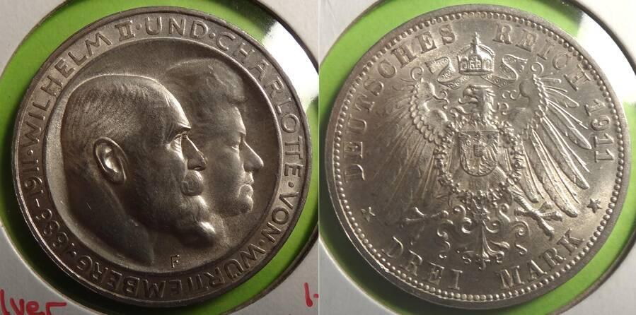 Württemberg 1911 3 Mark