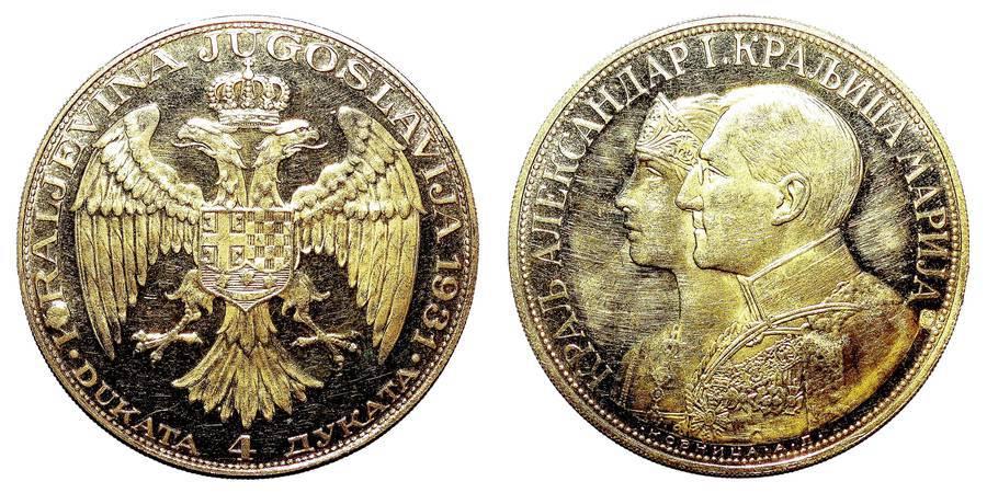 YUGOSLAVIA (KINGDOM)~4 Dukata 1931