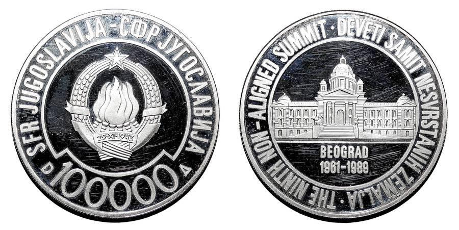 YUGOSLAVIA (SOCIALIST FEDERAL REPUBLIC)~100,000 Dinara 1989