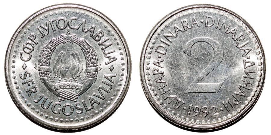 YUGOSLAVIA (SOCIALIST FEDERAL REPUBLIC)~2 Dinara 1992