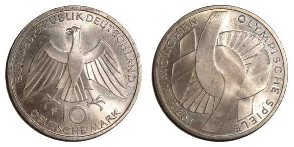 WEST GERMANY~10 Deutsche Mark 1972 F