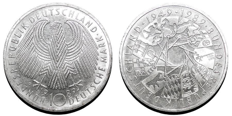 WEST GERMANY~10 Deutsche Mark 1989 G