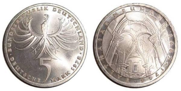 West Germany 5 Deutsche Mark 1978 F
