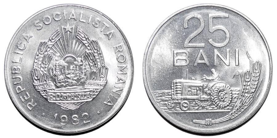 ROMANIA (SOCIALIST REPUBLIC)~25 Bani 1982