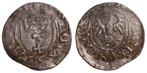 GDANSK/DANZIG (MUNICIPAL)~AR 1/2 Groschen 1447-1492 AD