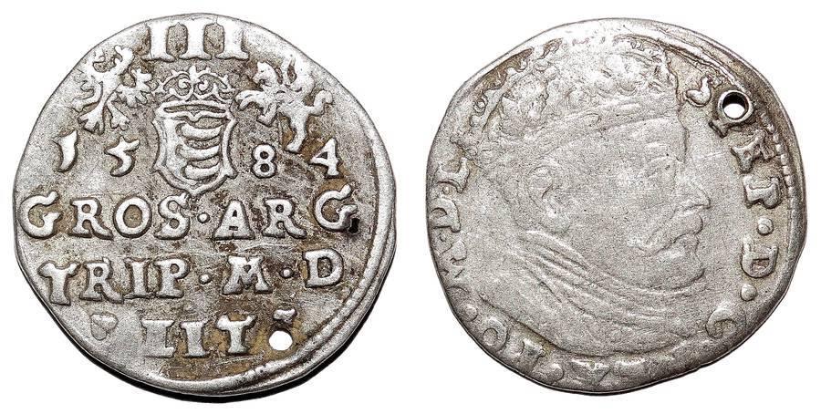 POLAND (KINGDOM)~3 Groschen 1584