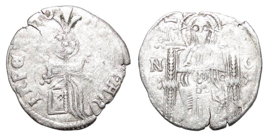 SERBIAN EMPIRE ~AR Helm Dinar 1346-1355 AD