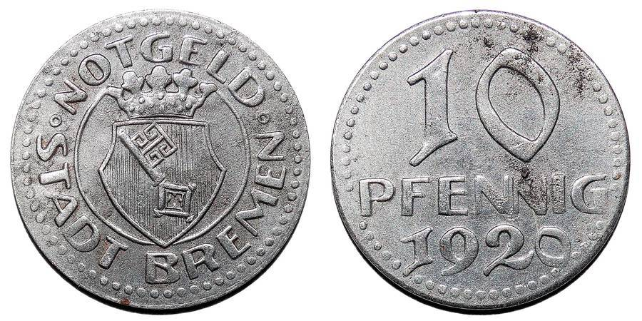 BREMEN (MUNICIPAL)~10 Pfennig 1920