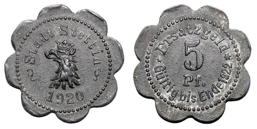 STETTIN (MUNICIPAL)~5 Pfennig 1920