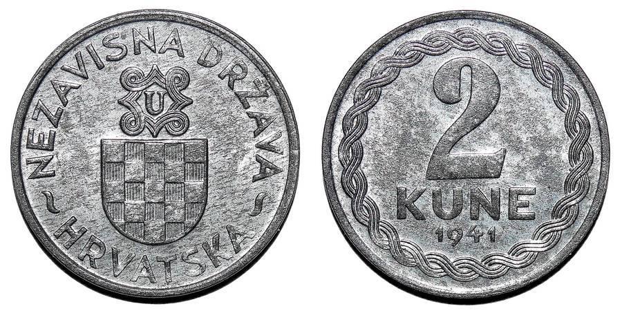 CROATIA (INDEPENDENT STATE)~2 Kune 1941