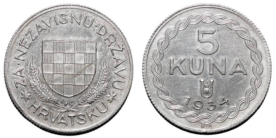 CROATIA (INDEPENDENT STATE)~5 Kuna 1934