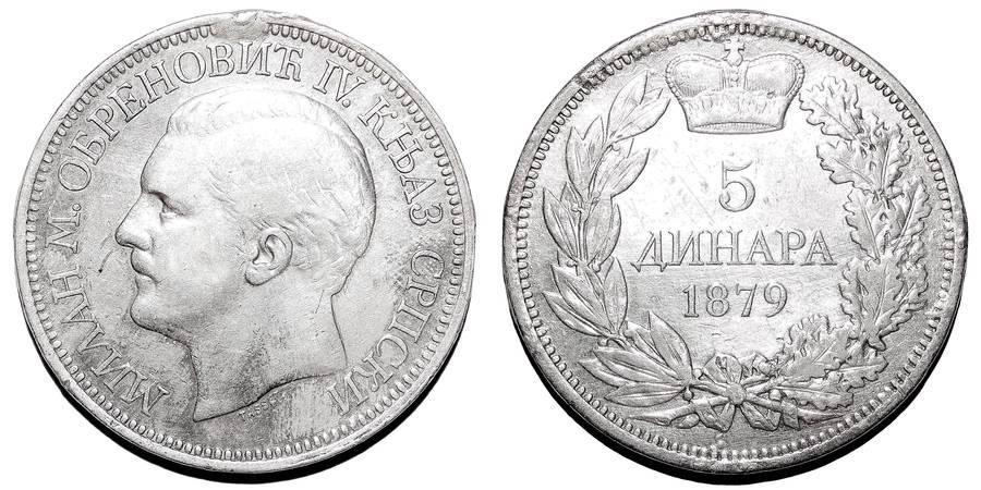 SERBIA (PRINCIPALITY)~5 Dinara 1879