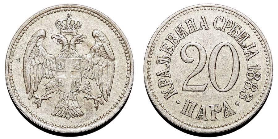 SERBIA (2nd KINGDOM)~20 Para 1883