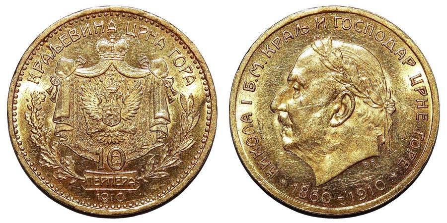 MONTENEGRO (REPUBLIC)~10 Coronation Perpera 1910